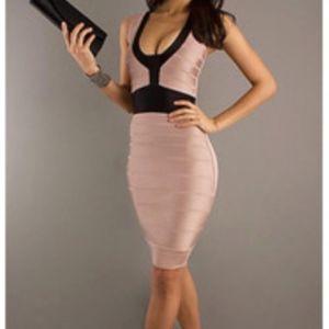 French Connection Blush / Black Bandage Dress